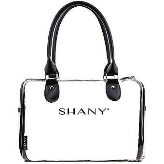 SHANY واضح للماء حقيبة حقيبة حقيبة حمل - انظر من خلال PVC حقيبة حمل مع مقابض جلدية فو، جيوب الجانب المفتوح وحقيبة مستحضرات التجميل القابلة للفصل