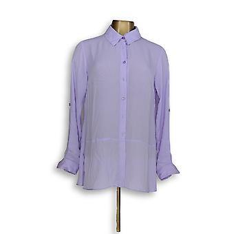 Joan Rivers Classics coleção mulheres ' s Top blusa de seda roxa A288773