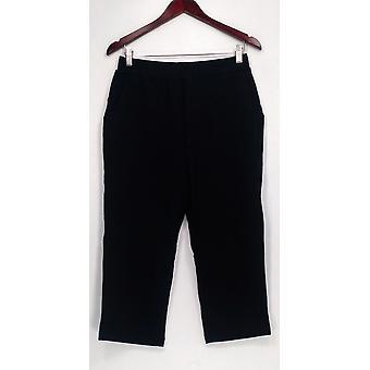 Denim et Co. Femmes Petite Pantalon SP Active Français Terry Crop Style Black A254574