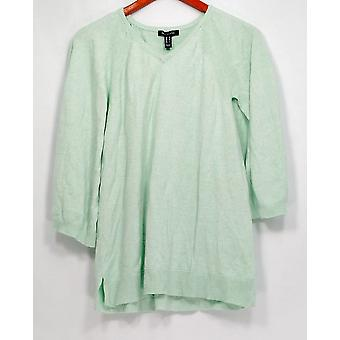 H by Halston Sweater Marled V-Neck Pullover Cape Mint Green A300996