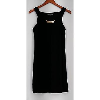 aDRESSing Woman Dress Bar Detail V-Neck Pull On Black Womens A425784