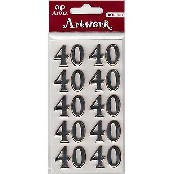 Number Forty Craft Embellishment By Artoz