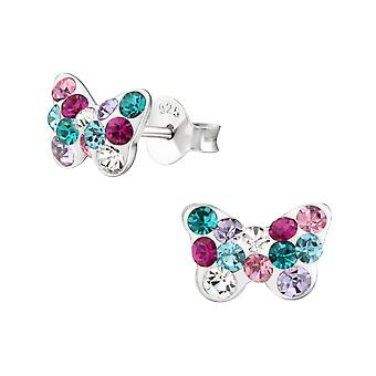Butterfiy - 925 Sterling Silver Crystal Ear Studs - W38013x