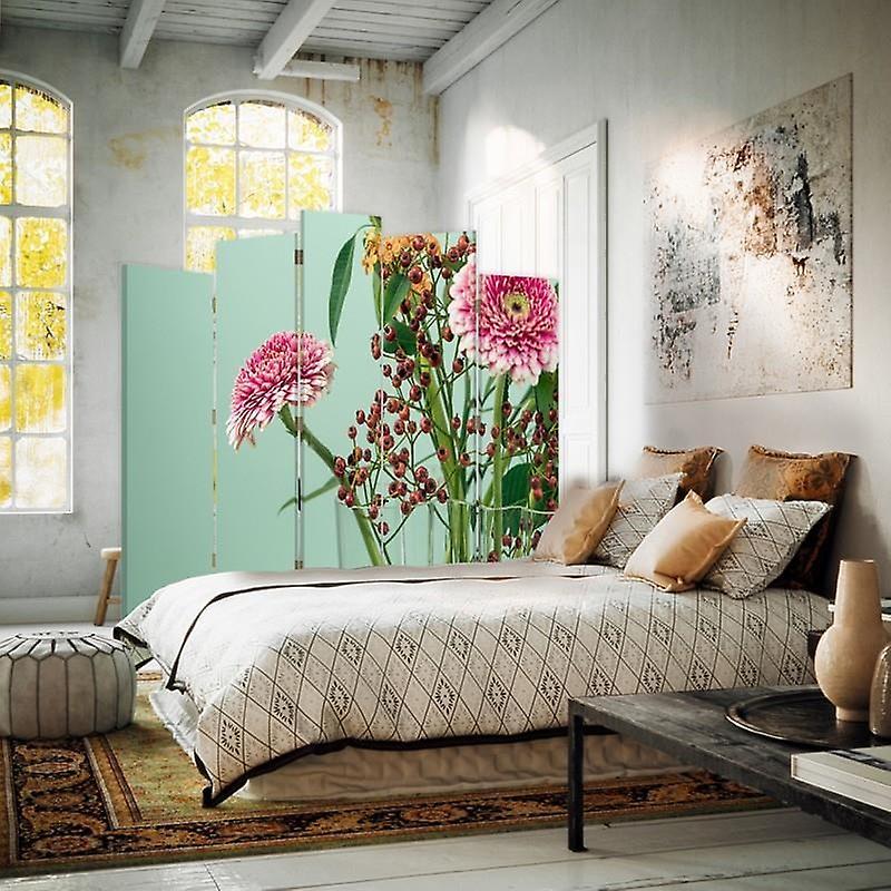 Diviseur de pièce décorative, 5 panneaux, double-sided, toile rotative de 360 , Gerbera