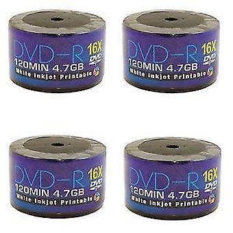 250 DVDs AONE DVD-R 16X Write Blank Discs FF White Inkjet Printable (5 Tubs von 50 Spindle/Cake Box)