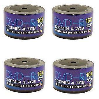 250 DVD AONE DVD-R 16X scrivere dischi vuoti FF bianco Inkjet stampabile (5 vasche di 50 mandrino/Cake Box)