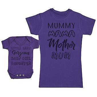 Baby Girl & muumio sanamuodon vauva lahja asettaa naisten T-paita/Teachers & vauvan body