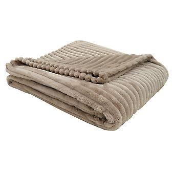 """50"""" x 60"""" Beige, Ultra Soft Ribbed Style - Throw"""