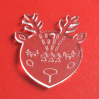 6pk Cute Amimal Reindeer Clear Acrylic Christmas Decorations