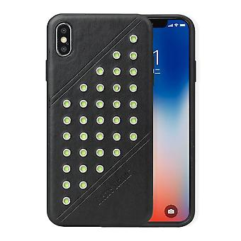 Pour iPhone XS MAX Cover,Modish Light Leather Back Shell Phone Case,Black
