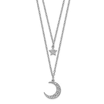 925 Sterling Silver Rhodium plated CZ Star and Celestial Moon With 2inch Ext 2 strand Necklace 16 Inch Jewelry Gifts for