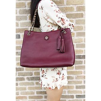 Tory Burch whipstitch logo grote keten Tote Imperial Garnet Bourgondië