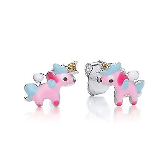David Deyong Children's Sterling Silver Pink Enamel Unicorn Stud Earrings