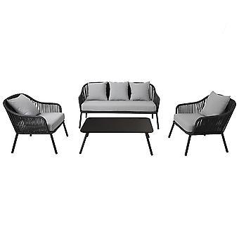 Charles Bentley Seil und Metall Lounge Set schwarz und grau zeitgenössische stilvolle ideal für Outdoor 10cm dicke graue Kissen