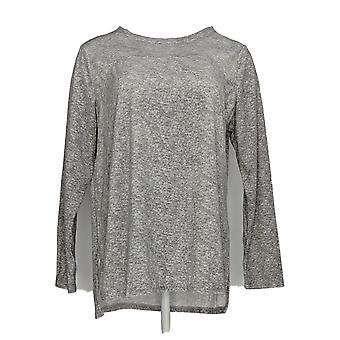 Carole Hochman Frauen's Pyjama Top silky Velour Fleece Crew grau A368290