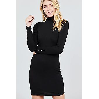 Long sleeve w/button detail high neck knit mini dress