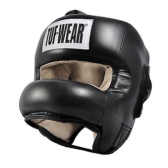Tuf Wear Headguard Hide Leather Full Nose Protection Black