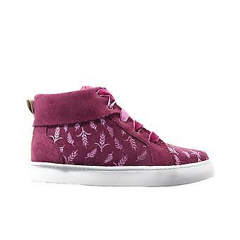 Clarks City Frost Toddler Plum Piele piele de căprioară Girls Hi Top Dantelă Up Sneaker Glezna Boots