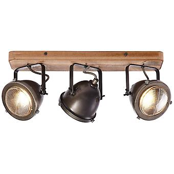 BRILLIANT Lamp Carmen Wood Spot beam 3flg burned steel/wood | 3x PAR51, GU10, 5W, suitable for reflector lamps (not included) | Scale A++ to E | Heads swivelling