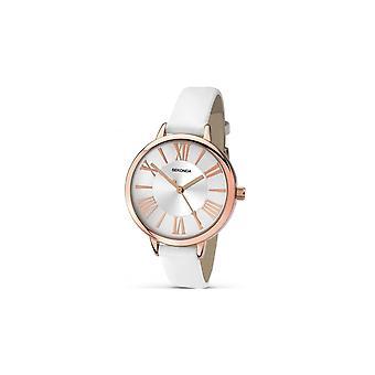 Sekonda Ladies 'Editions' Rose Gold Bezel Silver Dial White Strap Watch 2327