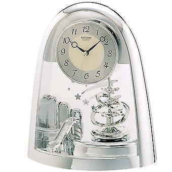 Rhythm 7607/19 Table clock Quartz analog with rotary pendulum silver