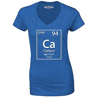 Reality glitch carbon element periodic table womens t-shirt - v-neck