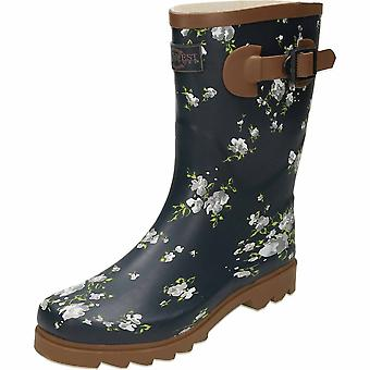 Northwest Territory Floral Print Navy Blue Rubber Wellington Mid Boots