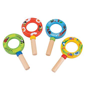 Bigjigs Toys Wooden Educational Mini Magnifiers (Pack 4) Science Garden Outdoor