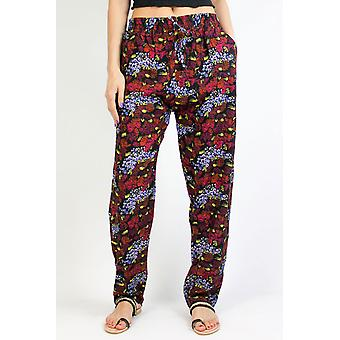 Fluid printed trousers, in women's cotton