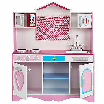 Large Kids Pink Play Kitchen Set Wooden Children's Role Toy Playsets Cooking