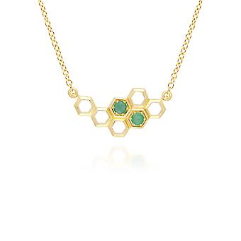 Honeycomb Inspired Emerald Link Necklace in 9ct Yellow Gold 135N0360019
