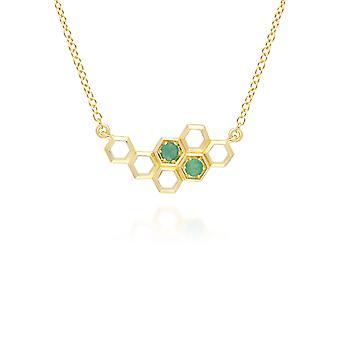 honeycomb inspirert emerald link halskjede i 9ct gult gull 135n0360019