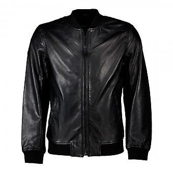 Superdry Black Leather Light Bomber Jacket 02A