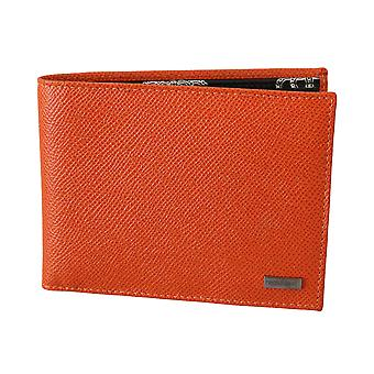 Orange 100% leather bill cardholder bifold men wallet