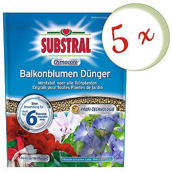 Sparset: 5 x SUBSTRAL® Osmocote balkong blomma gödselmedel, 1,5 kg