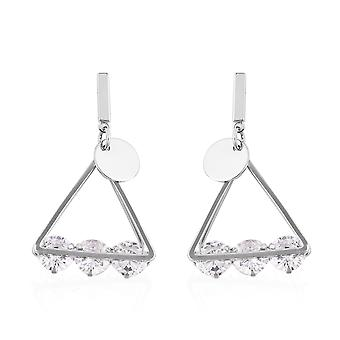 KARIS 2 Ct White Cubic Zirconia Triangle Earrings in Silvertone for Women