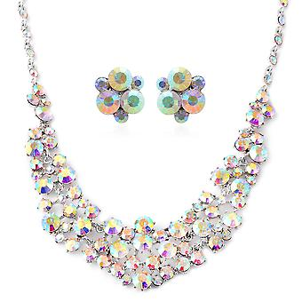 "Simulated White AB Colour Resin Necklace for Women Size 20"" with 3"" Extender TJC"