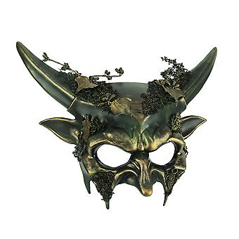 Green Woodland Demon Adult Halloween Forest Devil Costume Mask