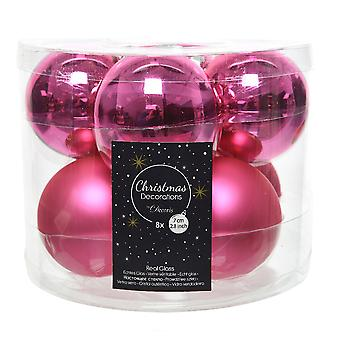 8 7cm Flashing Pink Glass Christmas Tree Bauble Decorations