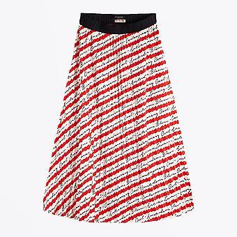 Scotch & Soda  - Pleated Satin Skirt - Red