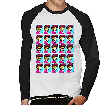 Thunderbirds Lady Penelope Pop Art Uomini's Baseball T-Shirt a maniche lunghe