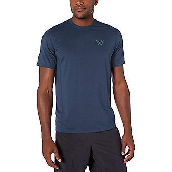 Brand -Peak Velocity Men's Tech-Stretch Short Sleeve Quick-Dry Loose-Fit T-Shirt, Alpine Blue Heather, Medium