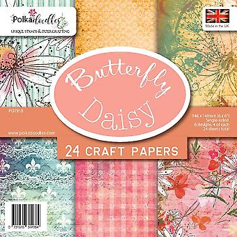Polkadoodles Butterfly Daisy 6x6 Inch Paper Pack