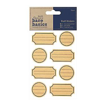 Papermania Bare Basics Kraft Stickers - Etiquetas