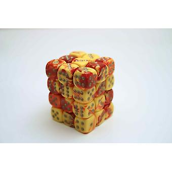 Chessex Gemini 12mm D6 Block - Red-Yellow w/silver