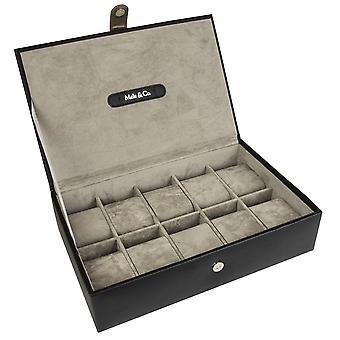 Uhrenbox aus Kunstleder für 10 Uhren, Schwarz - Jenson