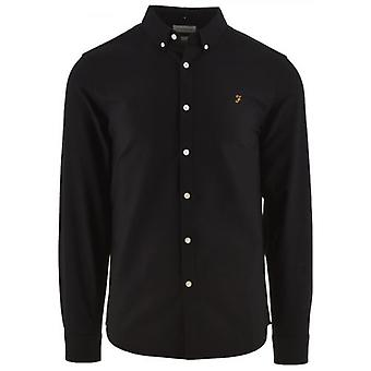 Farah Black Brewer Slim langærmet Oxford shirt