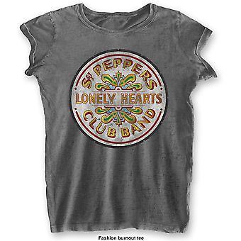 Damen die Beatles grau Sgt Pepper Drum offiziellen T-Shirt T-Shirt weiblich