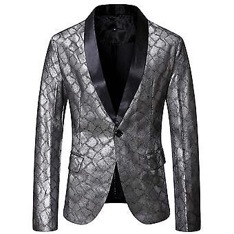 Allthemen Menăs Bronzing Snakeskin One-button Party Blazer Jacket