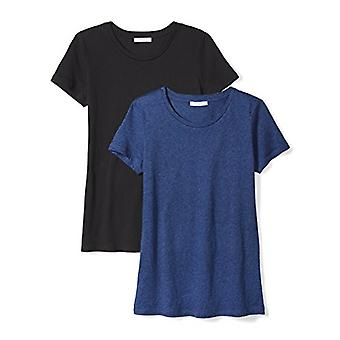 Marca - Daily Ritual Women's Featherweight Cotton Short-Sleeve Crew Neck T-Shirt, Preto/Heather Blue, Grande